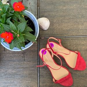 NWT Anthropologie Red Ankle Strap Heels | 8.5